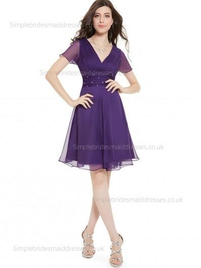 Online Stunning Chiffon V-neck Cap Empire Beading Regency Sleeve A-line Knee-length Bridesmaid Dress
