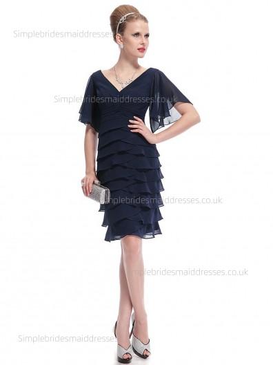 Budget Tiered Dark Navy Knee-length Chiffon Half-Sleeve Empire Column Sheath V-neck Bridesmaid Dress