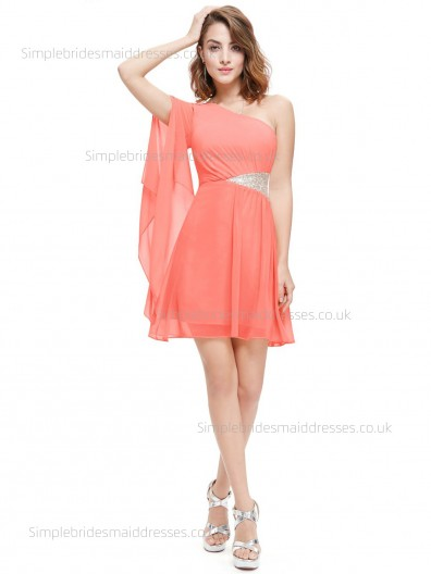 Beautiful Amazing Watermelon One Shoulder Beading Sleeveless Knee-length Chiffon Natural A-line Bridesmaid Dress