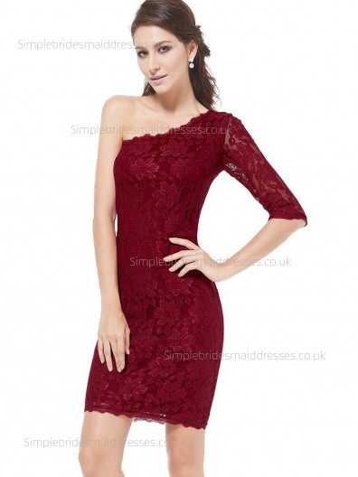Elegant Amazing Lace One Shoulder Natural Column Sheath Burgundy Half-Sleeve Applique Knee-length Bridesmaid Dress