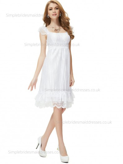 Online Celebrity Knee-length Empire Cap A-line Sleeve Lace White Bateau Bridesmaid Dress