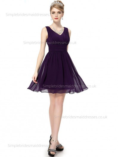 Elegant Girls A-line Sash Empire Knee-length Sleeveless V-neck Grape Chiffon Bridesmaid Dress