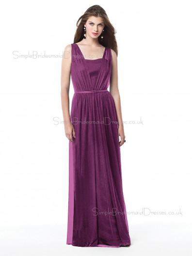 Tulle Bateau Sheath Floor-length Sleeveless Natural Purple Zipper Bridesmaid Dress