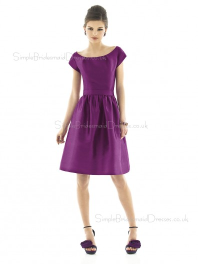 Peau De Soie Bateau A-line Knee-length Short Sleeve Natural Purple Zipper Bridesmaid Dress