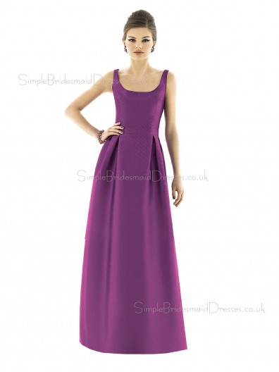 Mikado Bateau A-line Floor-length Sleeveless Natural Purple Zipper Bridesmaid Dress