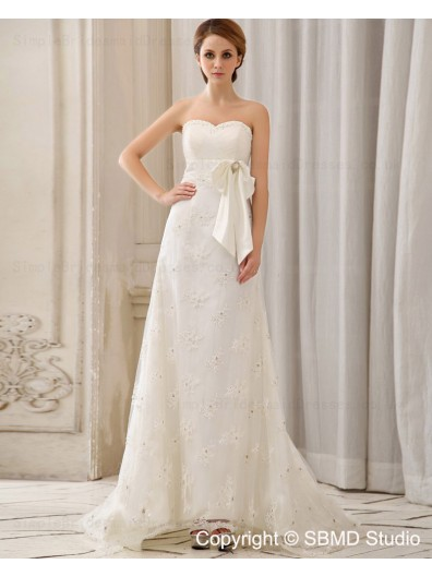 Chapel Lace Up Column / Sheath Sleeveless Satin Sweetheart Ivory Beading / Applique Empire Wedding Dress