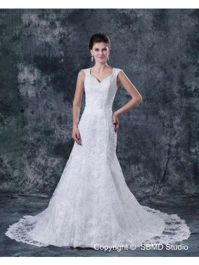 Court Natural Satin / Lace Backless Beading / Applique A-Line Sleeveless V Neck Ivory Wedding Dress