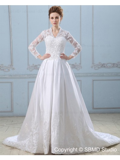 Zipper Lace / Applique Satin Ivory Long Sleeve Natural Sweep A-Line High Neck Wedding Dress