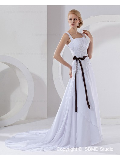 A-Line Sleeveless Empire Chiffon Ivory Square Court Beading / Applique Lace Up Wedding Dress