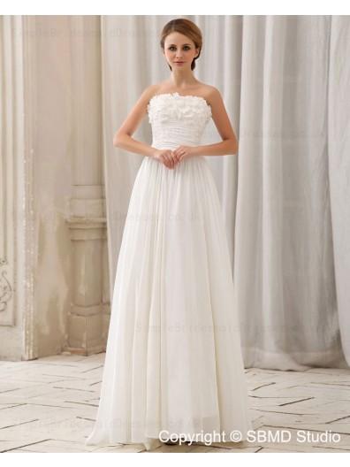 Zipper Sleeveless Natural Ivory Chiffon A-Line Court Strapless / Bateau Ruffles / Beading / Hand Made Flower Wedding Dress