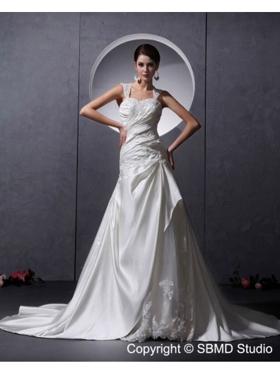 Ivory A-Line Sleeveless Ruffles / Beading / Applique / Buttons Zipper Sweetheart Chapel Satin Natural Wedding Dress