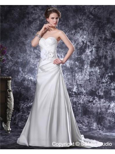 Ivory Empire Zipper A-line Sweetheart Ruffles / Applique / Hand Made Flowers / Buttons Taffeta Court Sleeveless Wedding Dress