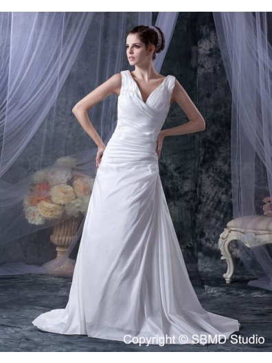 Natural Ivory A-Line Sleeveless V Neck Ruffles Court Lace Up Satin Wedding Dress