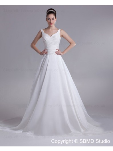 Chapel Ruffles A-line Sleeveless Natural Satin Straps Lace Up Ivory Wedding Dress