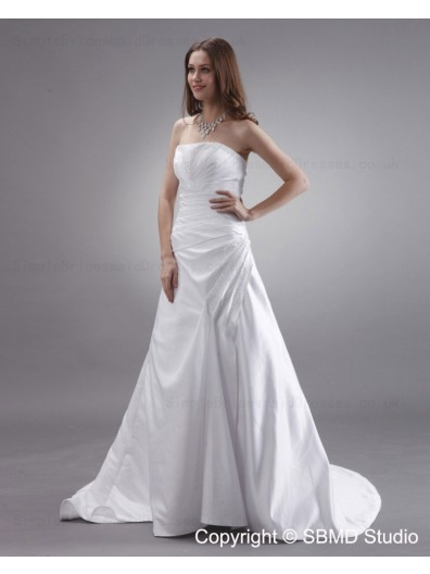 Zipper Beading / Ruffles Sleeveless Ivory A-line Court Strapless / Bateau Natural Satin Wedding Dress