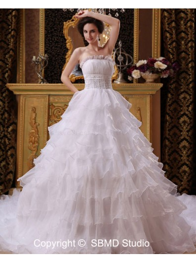 Zipper Ivory Organza Cathedral Empire Strapless / Bateau Sleeveless Beading / Ruffles A-Line / Ball Gown Wedding Dress