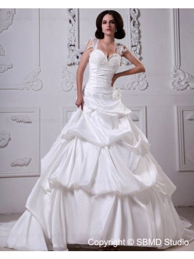 A-line Lace Up Sleeveless Appliques / Beading / Cascading-Ruffles Court Ivory Satin Natural Sweetheart Wedding Dress