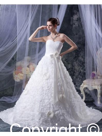 Hand Made Flower / Ruffles Ivory Satin / Taffeta A-line Empire Zipper Sleeveless Sweetheart Chapel Wedding Dress
