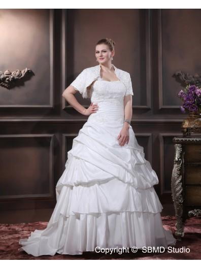Lace Up Sleeveless Satin / Organza Court Beading / Cascading-Ruffles / Ruffles Size Natural One Shoulder Ivory A-line / Plus Wedding Dress