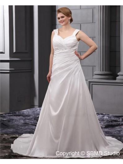 Beading / Ruffles Ivory Size Straps A-line / Plus Empire Lace Up Sleeveless Satin Court Wedding Dress