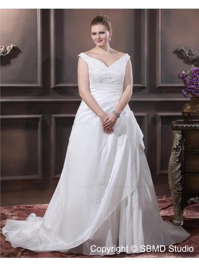 Court V Neck Ruffles / Applique / Beading Taffeta Empire Ivory Lace Up Size Sleeveless A-line / Plus Wedding Dress