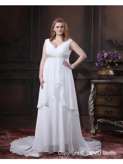 Size Chapel Ivory Chiffon Sleeveless Empire V Neck Lace Up A-line / Plus Beading / Sash Wedding Dress