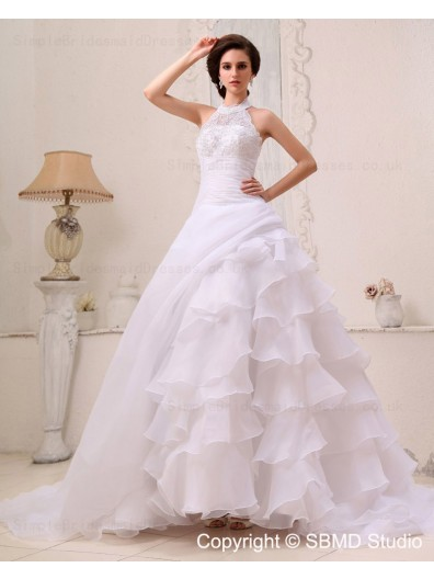 Sleeveless Chapel Organza / Satin A-line Natural Applique / Beading / Cascading-Ruffles Ivory Zipper Halter Wedding Dress