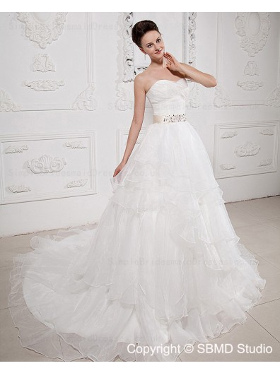 Taffeta / Organza Ivory Ruffles / Beading / Cascading-Ruffles / Sash Sleeveless Zipper A-line Natural Court Sweetheart Wedding Dress