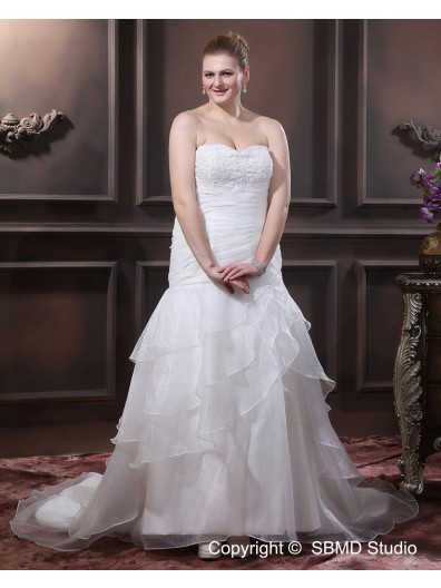 A-line / Plus Sweetheart Organza Applique / Beading / Cascading-Ruffles Empire Chapel Size Ivory Sleeveless Lace Up Wedding Dress