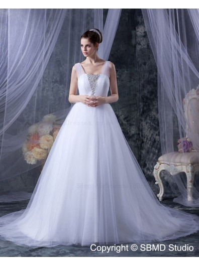 Ruffles / Beading Ivory Sleeveless Empire Zipper A-line Square Court Tulle Wedding Dress