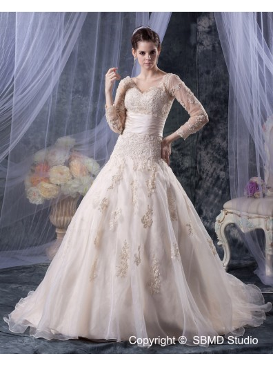 Ivory Court Sleeve Zipper Empire Organza Applique / Beading / Sash A-line Long V Neck Wedding Dress