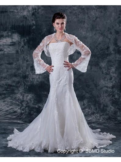 Sleeve Sweetheart Long Ivory Natural Satin A-line Chapel Beading / Applique Zipper Wedding Dress