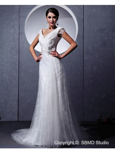 Ivory Organza Sleeveless Zipper Empire Ruffles / Beading / Lace Column / Sheath V Neck Chapel Wedding Dress