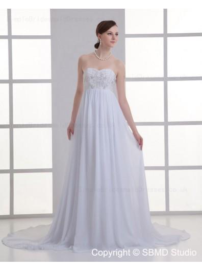 Sweetheart A-line Court Sleeveless Zipper Chiffon Ivory Beading Empire Wedding Dress