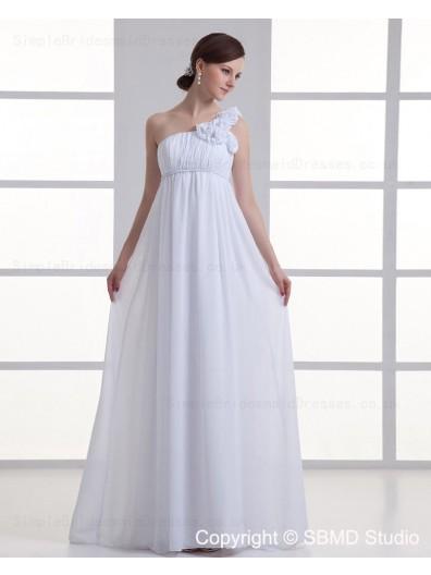 Ivory Zipper Chiffon One Shoulder Floor-length Empire Sleeveless Ruffles / Hand Made Flower A-line Wedding Dress