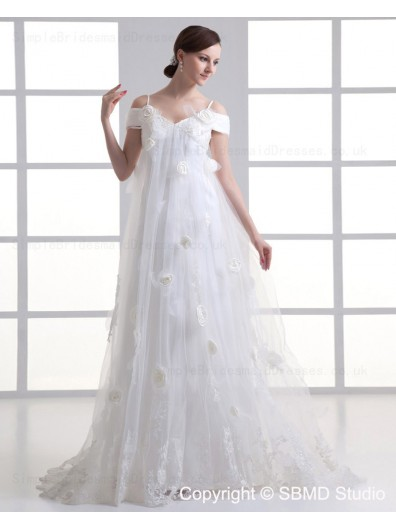 Empire Sleeveless Ivory Sweep Tulle Hand Made Flower / Ruffles Off-the-shoulder A-line Lace Up Wedding Dress