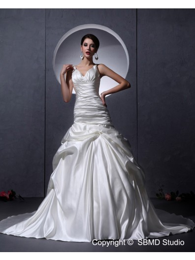 Ivory V Neck Sleeveless A-Line / Ball Gown Natural Ruffles Court Zipper Satin Wedding Dress