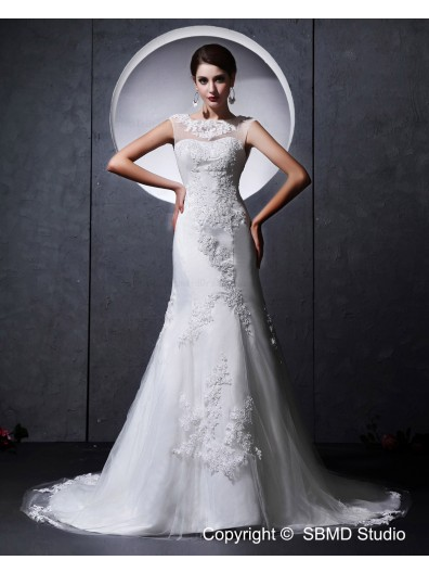 A-line Ivory Beading / Applique / Lace Natural Zipper Satin / Tulle High Neck Chapel Sleeveless Wedding Dress