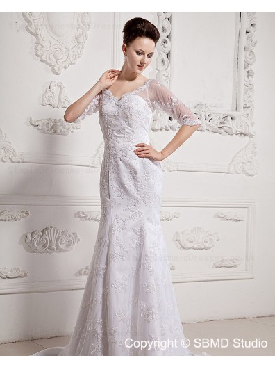 Natural Sweep Ivory Sleeve Short Applique / Lace Lace / Satin Sweetheart Zipper A-line Wedding Dress