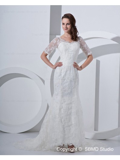 Embroidery Zipper V Neck Natural Satin / Lace Ivory Court Sleeve Short A-line Wedding Dress