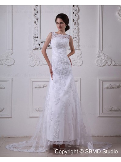 A-line Empire Lace Zipper Scoop Satin / Lace Sweep Sleeveless Ivory Wedding Dress