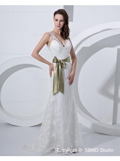 Applique / Beading / sash Zipper Satin / Tulle A-line Sweetheart Sleeveless Floor-length Ivory Empire Wedding Dress