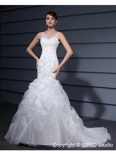 Ruffles / Embroidery / Beading Natural Sleeveless Organza / Satin V Neck Ivory Lace Up Court A-line Wedding Dress