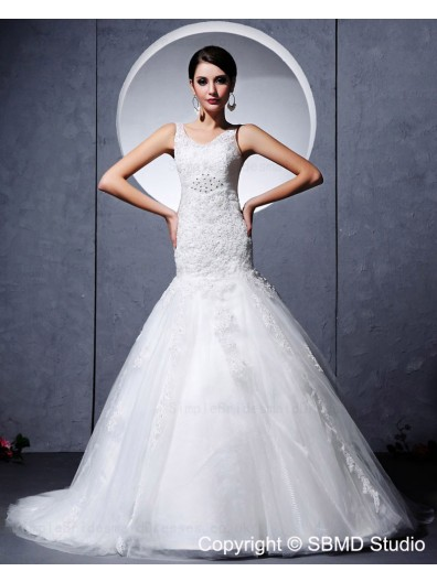 Sleeveless Applique / Beading Scoop Satin / Lace / Tulle Zipper Ivory Chapel Empire A-line Wedding Dress