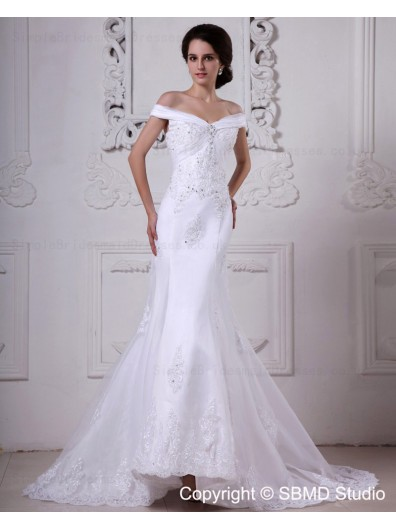 Ivory Zipper Empire A-line Off-the-shoulder Beading / Lace Court Sleeveless Organza / Satin Wedding Dress