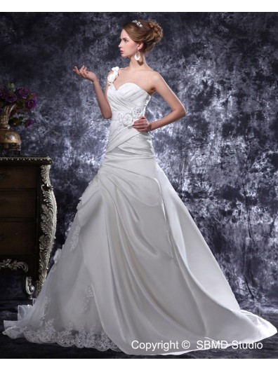 Beading / Ruffles / Hand Made Flower Sleeveless Lace Up Court Satin A-line Ivory Empire One Shoulder Wedding Dress