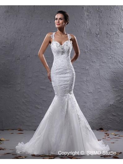 Zipper Empire Sweep Straps Organza / Satin Sleeveless A-line Applique / Beading Ivory Wedding Dress