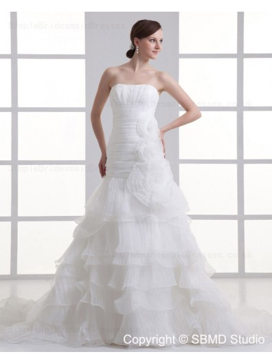 Ivory Ruffles / Hand Made Flower Organza A-line Sleeveless Zipper Strapless Sweep Empire Wedding Dress