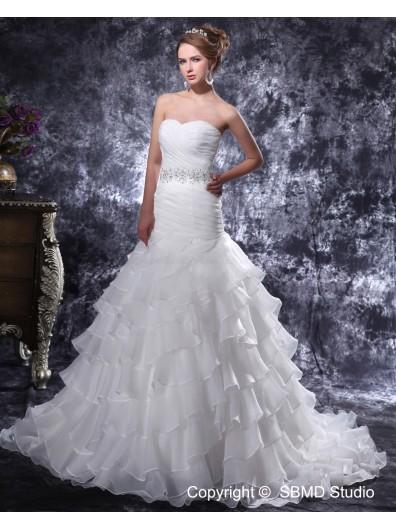 Court Organza Lace Up Natural Sweetheart Pleat / Beading / Ruffles Ivory Sleeveless Mermaid Wedding Dress
