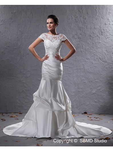 Bateau Zipper Cap Sleeve Ivory Dropped Applique / Beading Court Mermaid Taffeta Wedding Dress